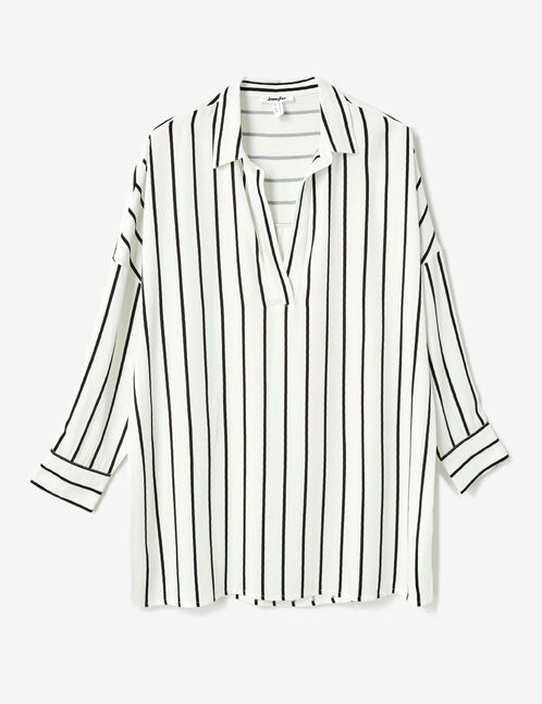 Long cream striped shirt