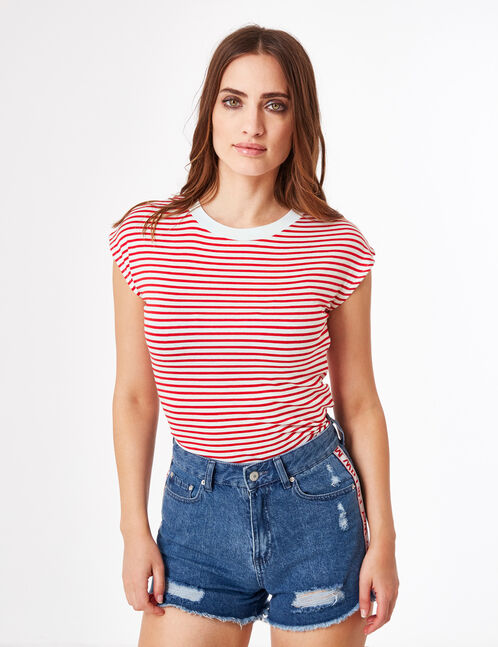 Cream and red striped T-shirt