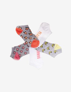 Product Chaussettes, gris, blanc, jaune, orange et rose, motif fraise, abricot, banane, hauteur cheville, lot de 5.Marque Jennyfer Catégorie collants + chaussettes