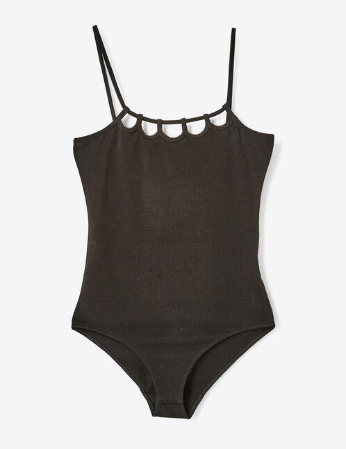 Black bodysuit with cut-out details