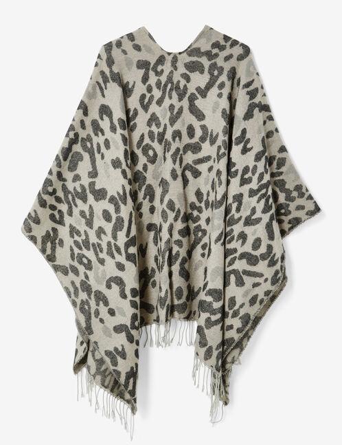cape motif léopard grise