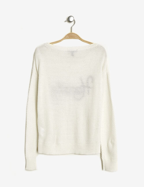 "Cream jumper with ""hearty"" patch"