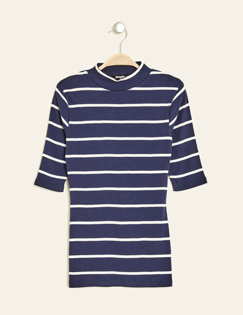 Navy blue and cream striped ribbed T-shirt