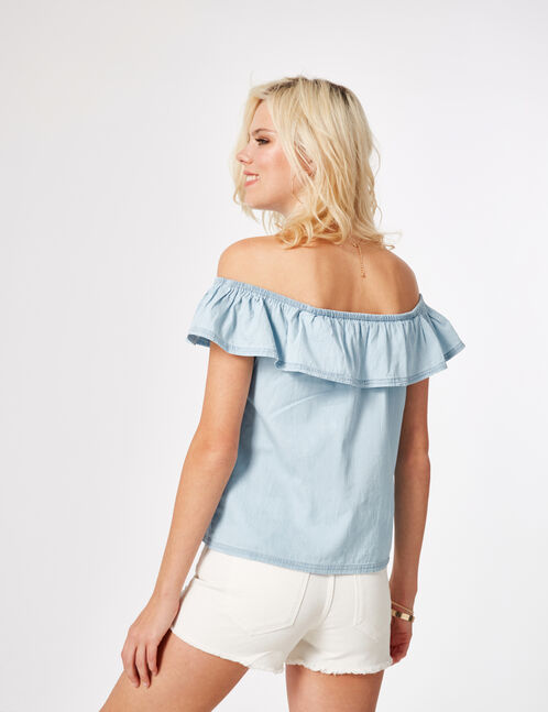 Light blue off-the-shoulder top