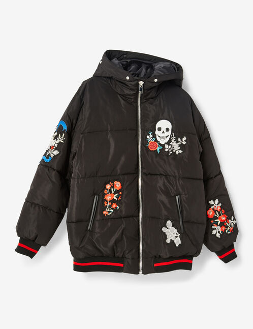Black embroidered padded jacket