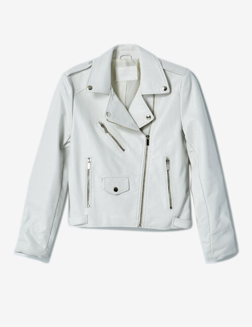 veste biker zip déco blanche