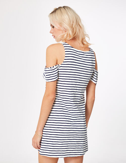 Navy blue and cream striped dress with lace detail