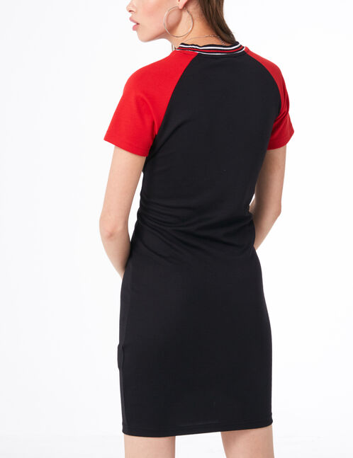 Black and red two-tone T-shirt dress