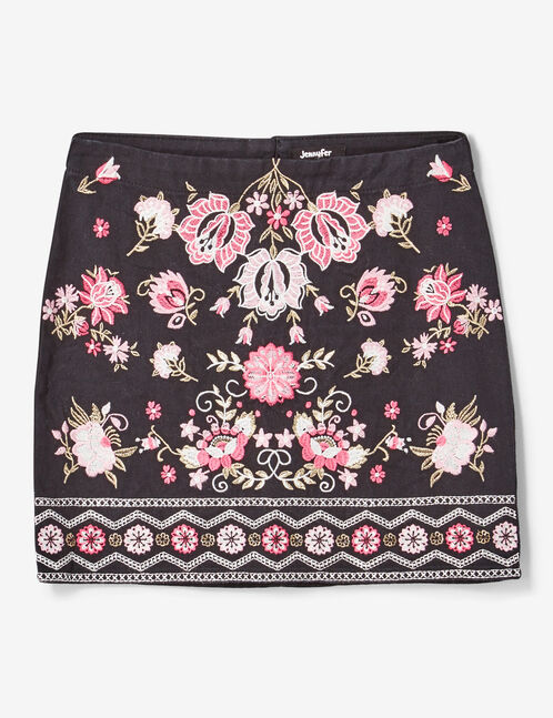 Black, pink, white and gold embroidered skirt