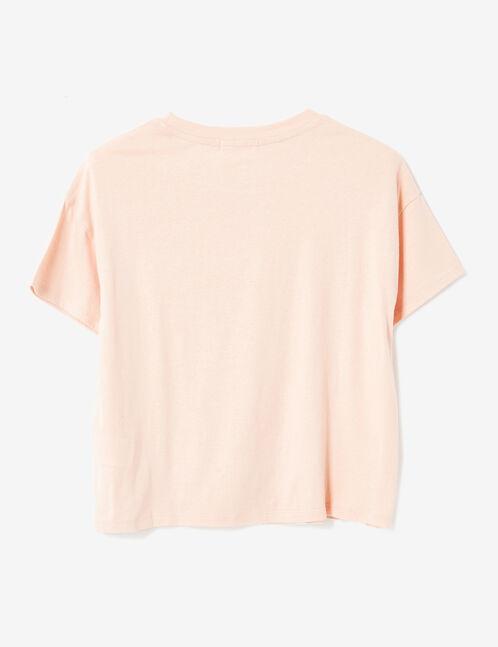 tee-shirt à message rose clair