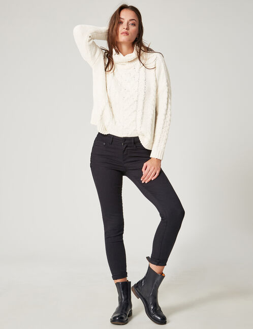 Cream chenille polo neck jumper