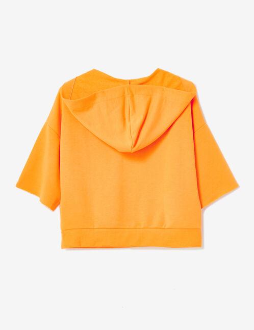 Tangerine sweatshirt with lacing detail