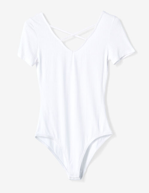 White V-neck bodysuit with strap detail