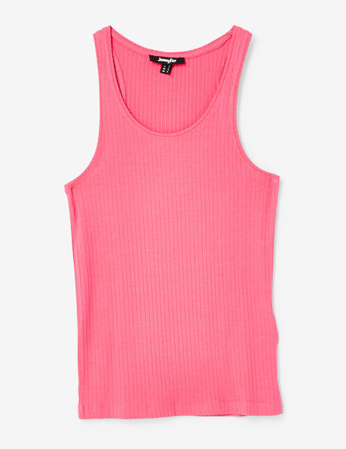 Basic pink ribbed tank top
