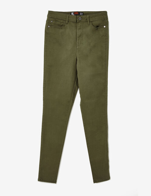 Khaki high-waisted skinny trousers