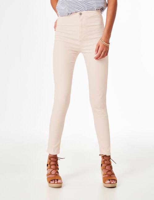 pantalon taille haute rose clair