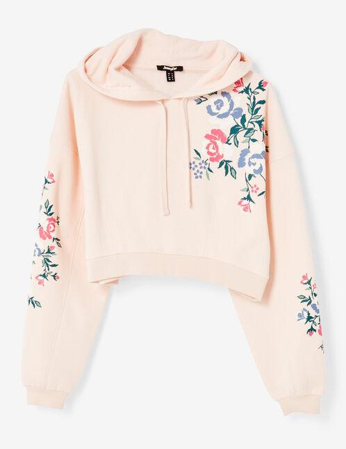 Cropped light pink floral hoodie
