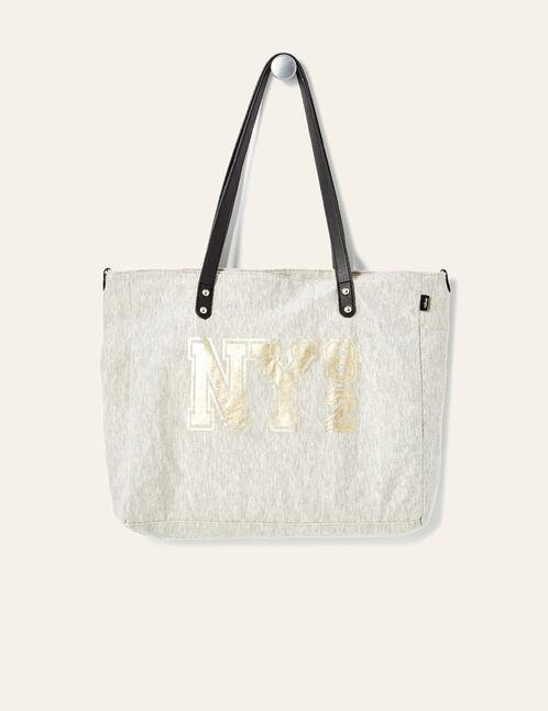 "Grey marl ""82"" print handbag"