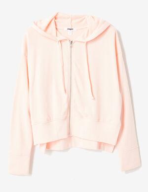 Product Sweat zippé femme, rose clair, fentes côtés, bascule, finitions bords côtes, capuche avec lien de resserrage, manches longues.Marque Jennyfer Catégorie joggness