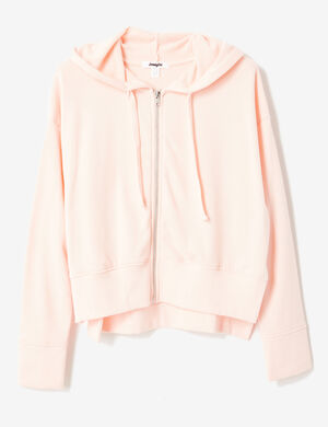 sweat zippé à capuche rose clair