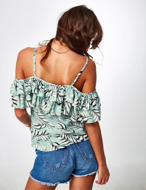 blouse tropical avec volants vert d'eau