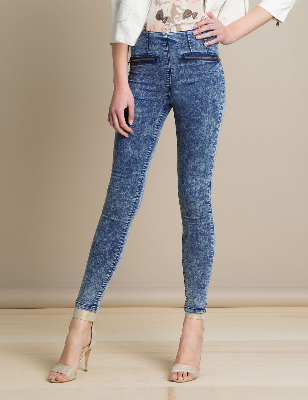 jegging jean taille haute medium blue femme jennyfer. Black Bedroom Furniture Sets. Home Design Ideas