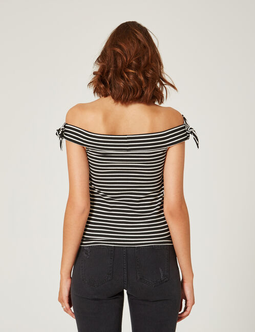 Black and white striped off-the-shoulder top