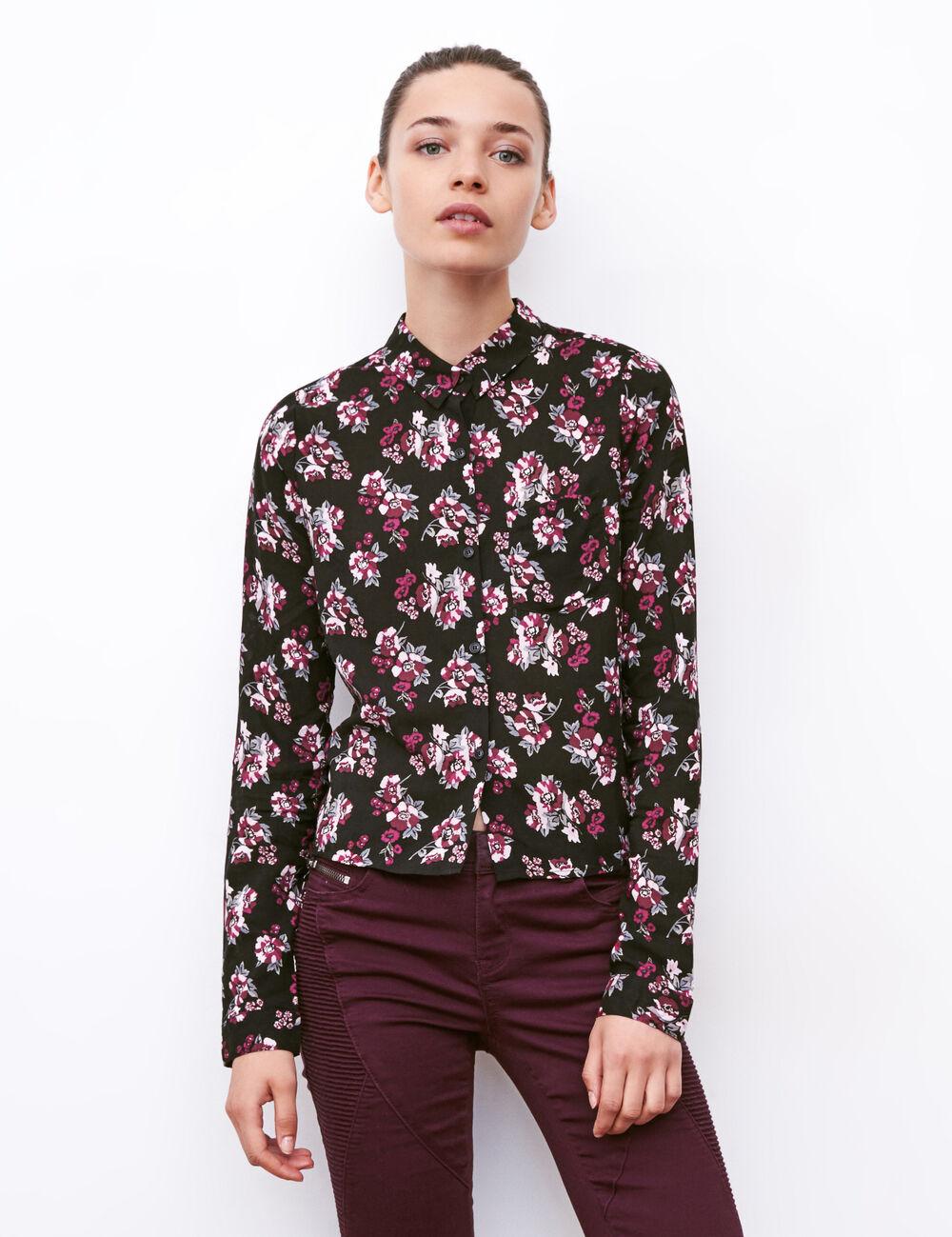 chemise courte fleuri noir et rose femme jennyfer. Black Bedroom Furniture Sets. Home Design Ideas