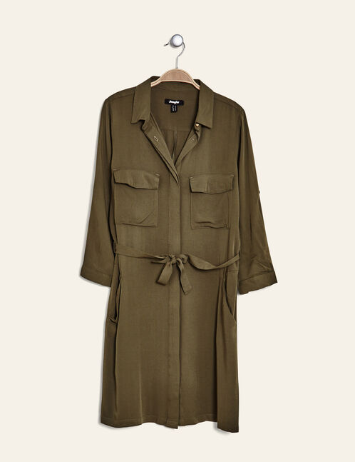 Khaki loose-fit shirt dress