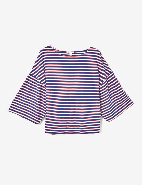 Cream, navy blue and red striped T-shirt