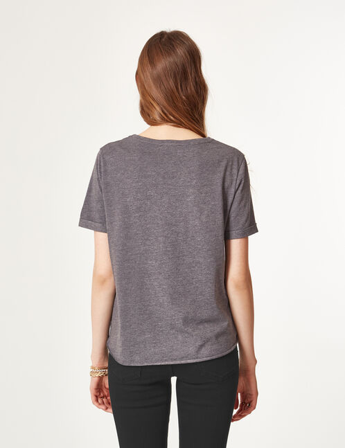 Charcoal grey marl T-shirt with text design detail