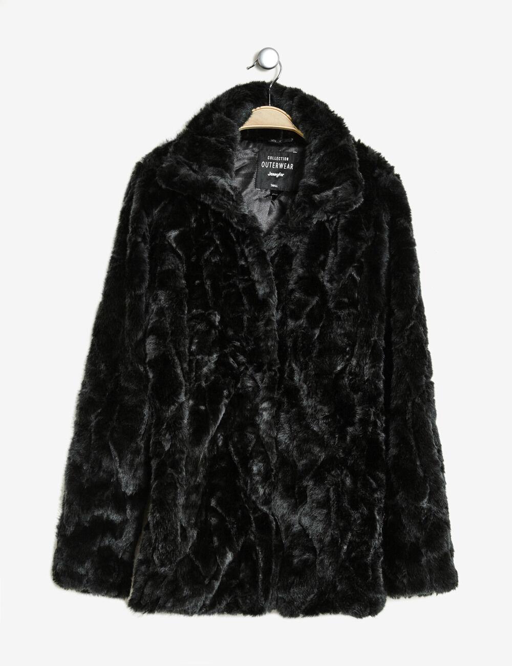 veste fausse fourrure longue noire femme jennyfer