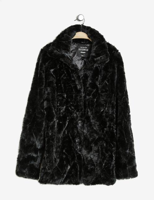 Long black faux fur jacket