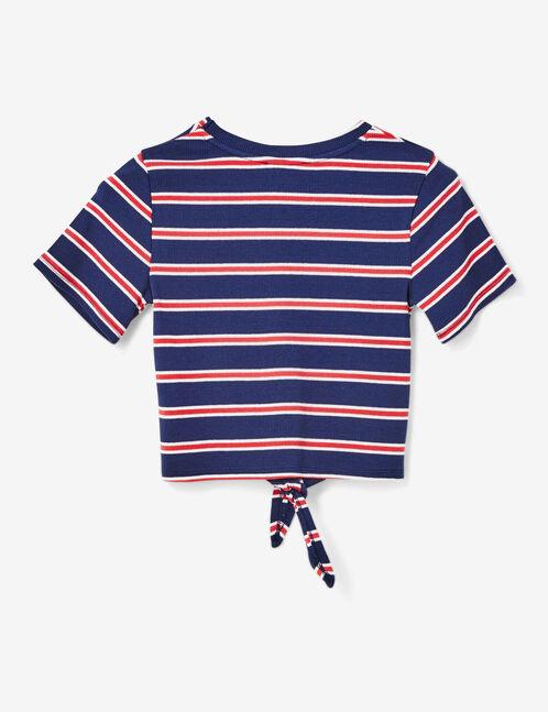 Navy blue striped tie-fastening crop top