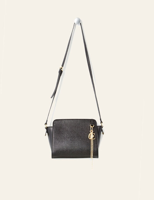 Black crossbody bag with charm detail