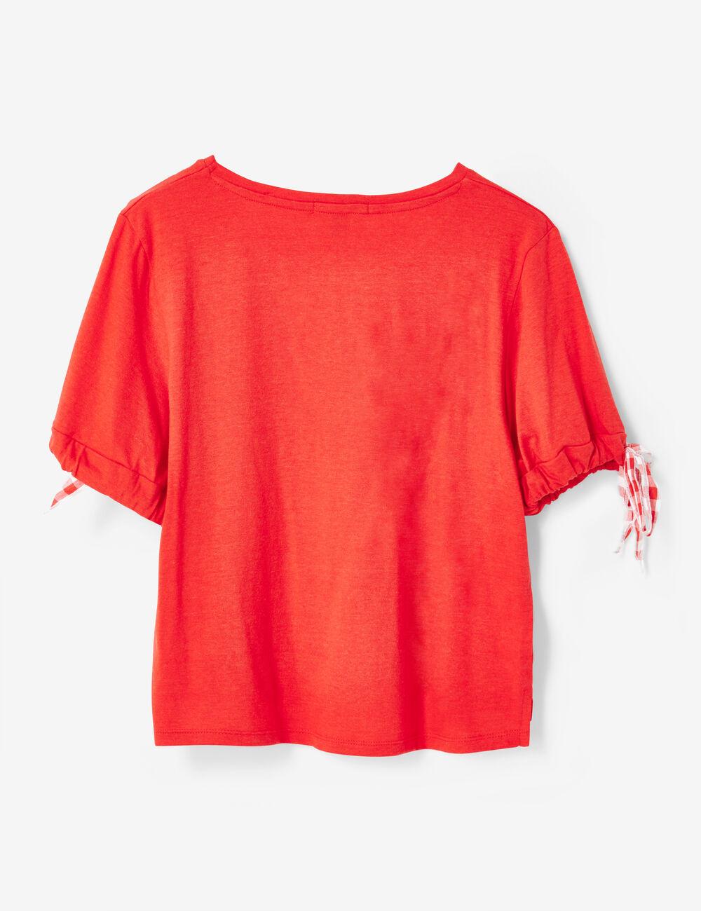 tee shirt avec lien vichy rouge femme jennyfer. Black Bedroom Furniture Sets. Home Design Ideas