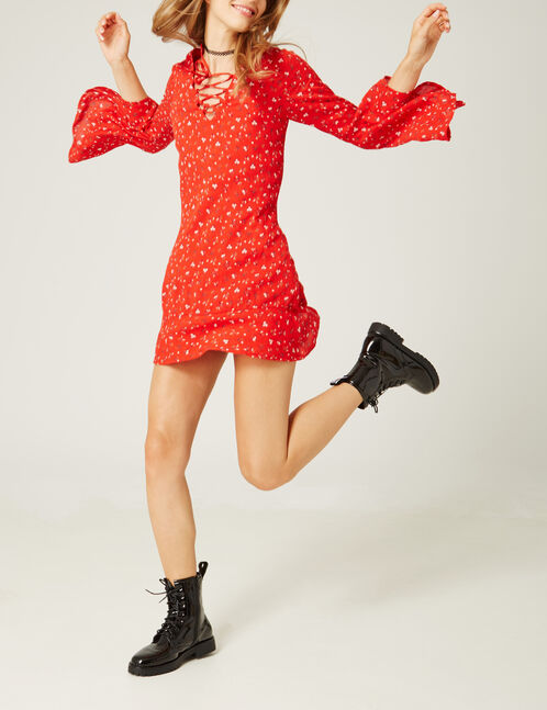Red floral print dress with lacing detail
