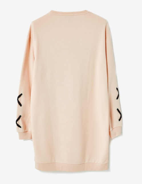 robe sweat à message rose clair