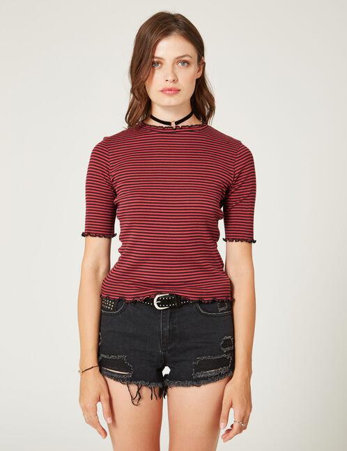 tee-shirt basic côtelé rayé bordeaux et noir