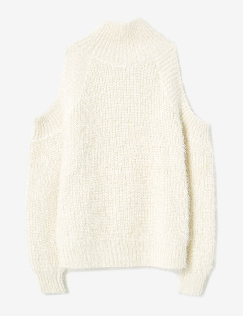 Cream cold shoulder jumper