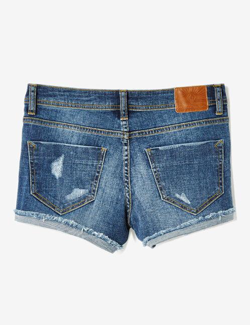 Medium blue denim shorts with frayed hem