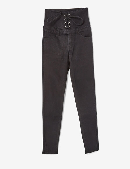 Black corset-effect trousers