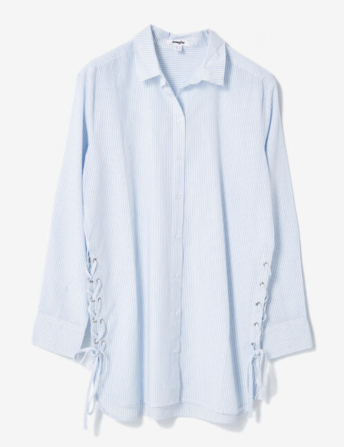 Long cream and light blue shirt with lacing detail