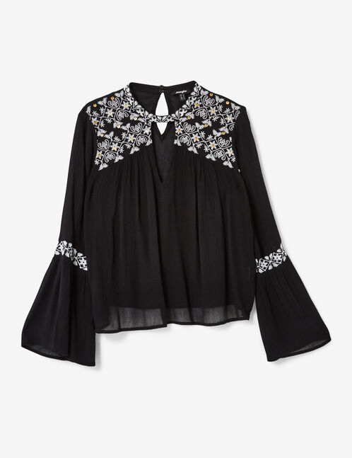 blouse avec broderies noire