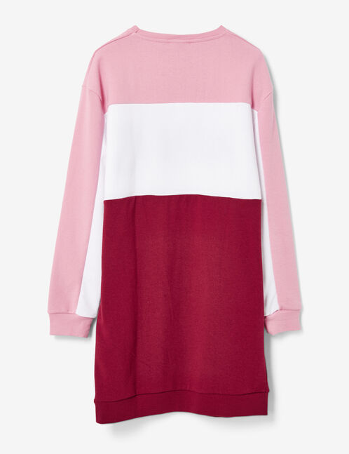 robe sweat nyc rose clair, écrue et bordeaux