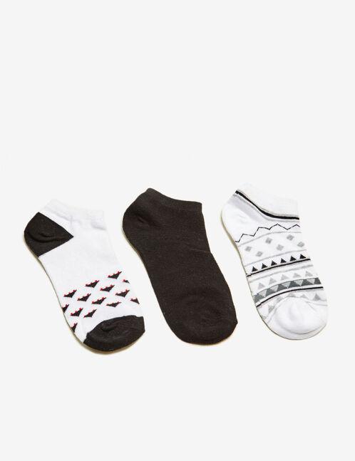chaussettes motif aztèque blanches, grises et noires
