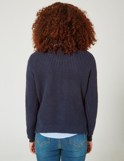 pull côtelé à patchs bleu marine