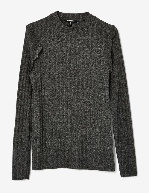 tee-shirt côtelé à volants gris anthracite chiné