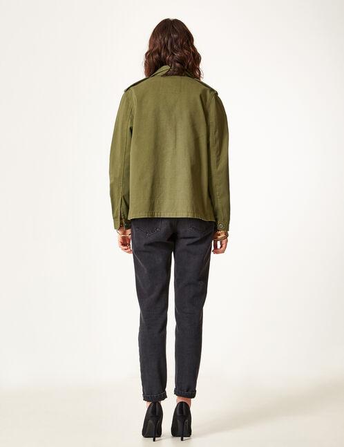 Khaki jacket with beading detail