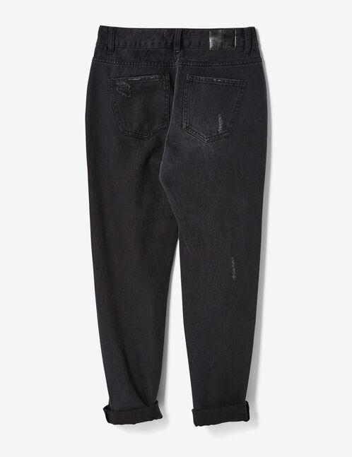 Black distressed mom jeans